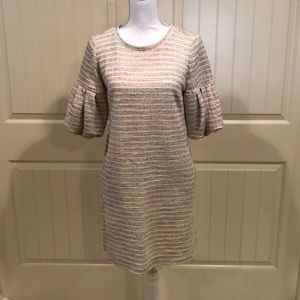Loft Boucle Zip-entry Dress with Bubble sleeves